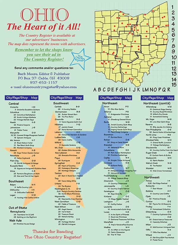 Ohio Country RegsiterAdvertisers Page